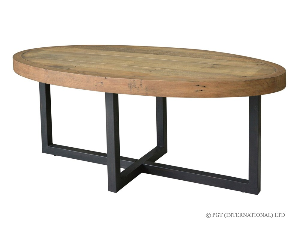 Woodenforge oval coffee table pgt reclaimed official