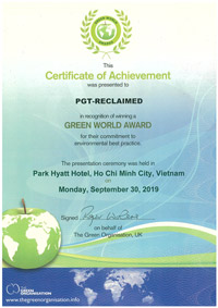 Green World AwardCertificate 2019