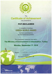 Certificate of Achievement Green World 2018