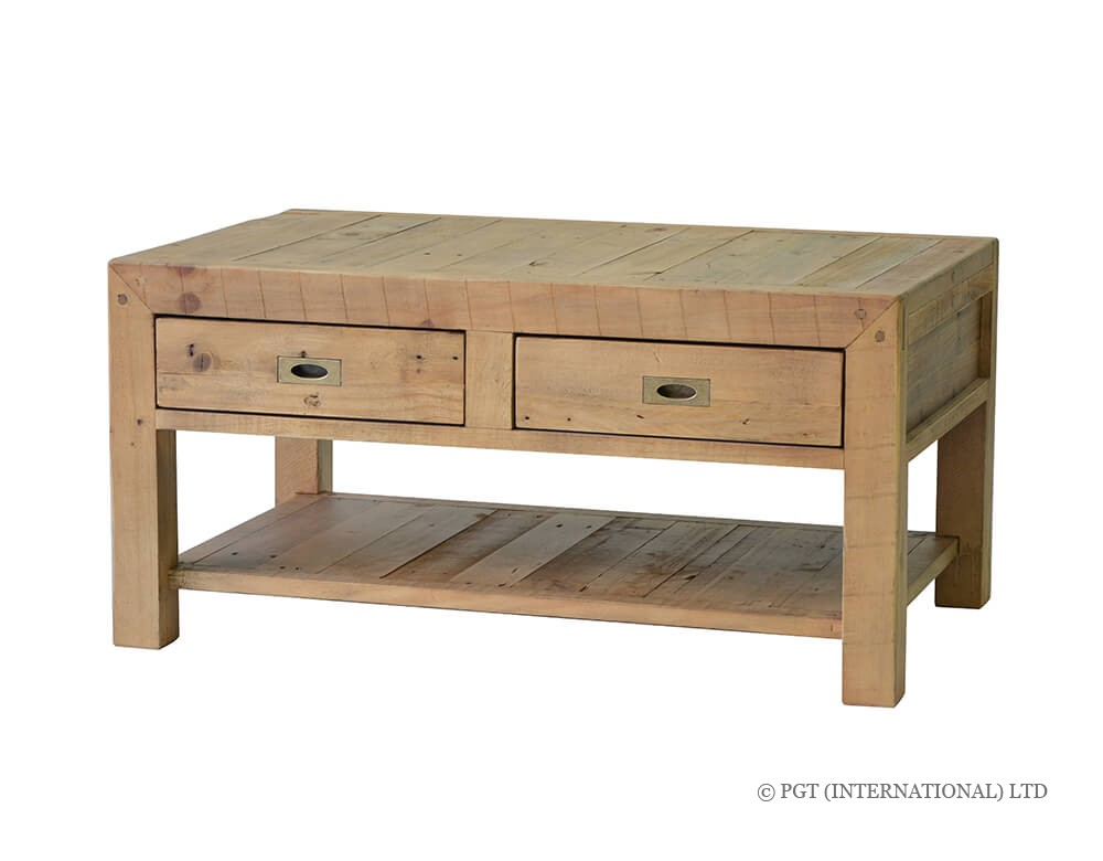 rustic post and rail coffee table 2
