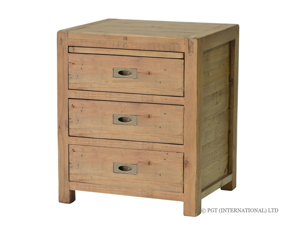 rustic post and rail bedside cabinet